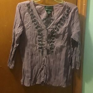Purple Embroidered Crinkle Shirt
